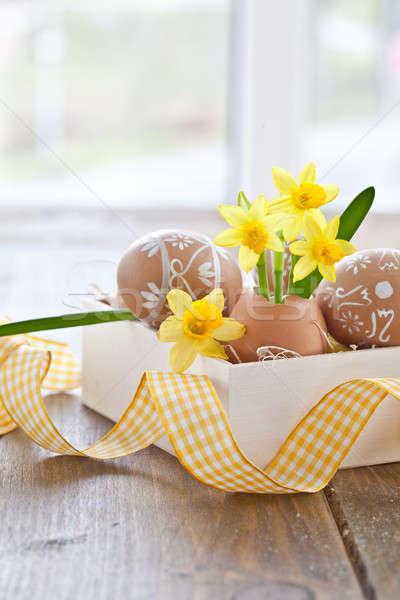 Stock fotó: Citromsárga · tojás · kagyló · festett · húsvéti · tojások · tavasz