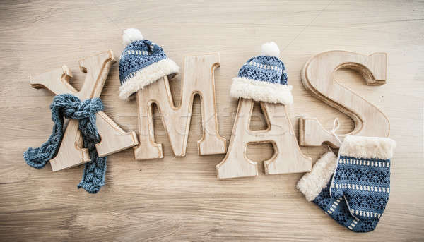 Xmas in rustic letters Stock photo © BarbaraNeveu