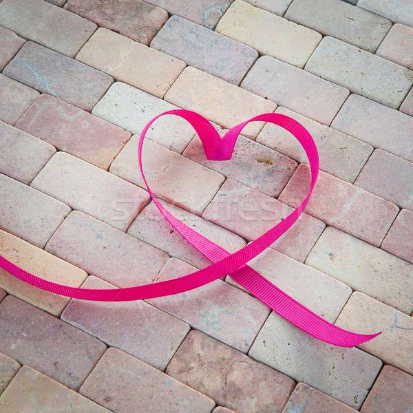 ストックフォト: ギフト · リボン · 心臓の形態 · 素朴な · 石 · 結婚式