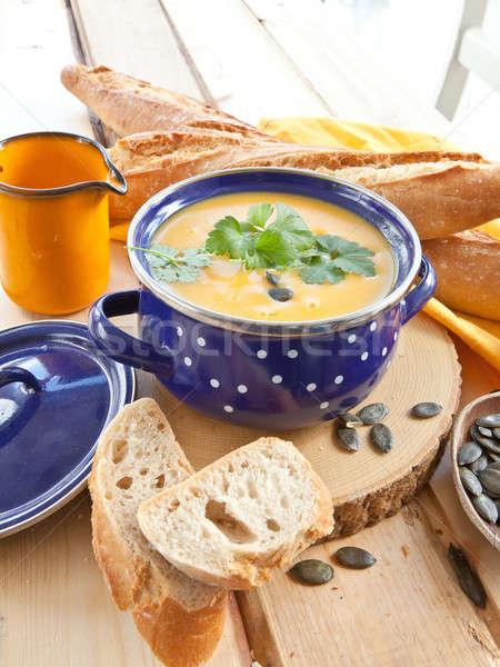Stock photo: Homemade pumpkin soup