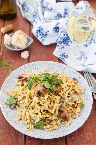 тальятелле грибы домашний сливочный гриб соус Сток-фото © BarbaraNeveu