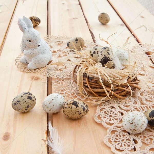 Stok fotoğraf: Paskalya · yuva · yumurta · rustik · ahşap · yumurta