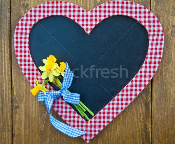黒板 新鮮な 水仙 コピースペース 花 愛 ストックフォト © BarbaraNeveu