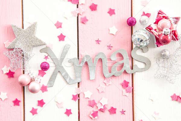 Rose Noël décorations ornements rayé bois Photo stock © BarbaraNeveu