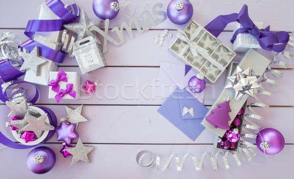 Zdjęcia stock: Christmas · fioletowy · ozdoby · serca · vintage