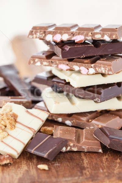 Különböző desszert függőleges boglya csemege egymásra pakolva Stock fotó © BarbaraNeveu