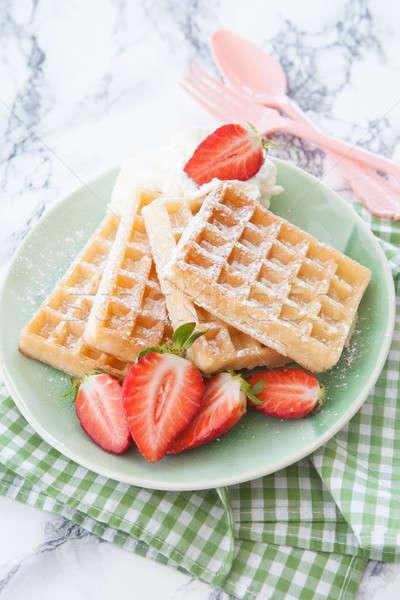 イチゴ 自家製 新鮮な ホイップクリーム 食品 朝食 ストックフォト © BarbaraNeveu