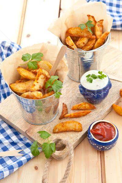 Vers aardappel zure room hout plaat Stockfoto © BarbaraNeveu
