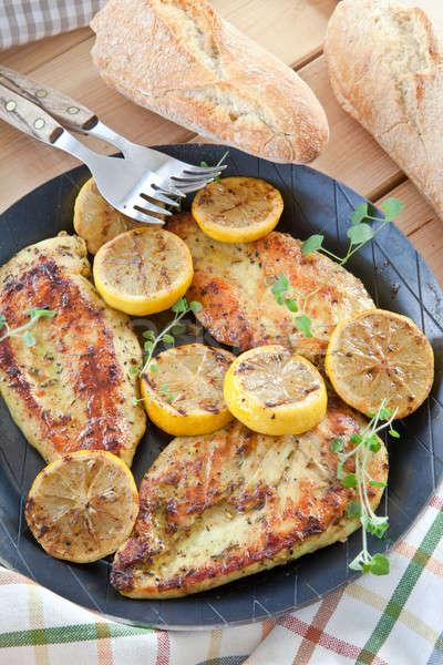 Marinato petto di pollo limone ferro pan Foto d'archivio © BarbaraNeveu