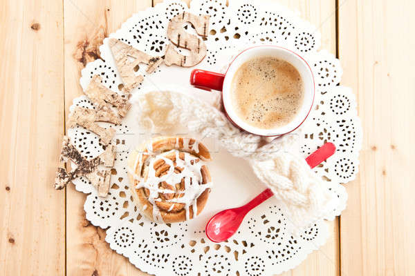 Photo stock: Fraîches · cannelle · rouler · café · maison · tasse
