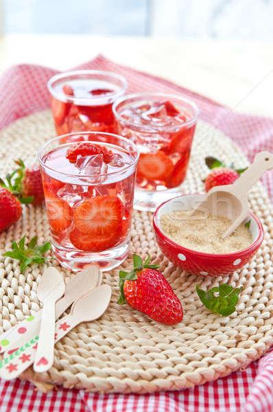 Eigengemaakt limonade vers aardbeien aardbei suiker Stockfoto © BarbaraNeveu