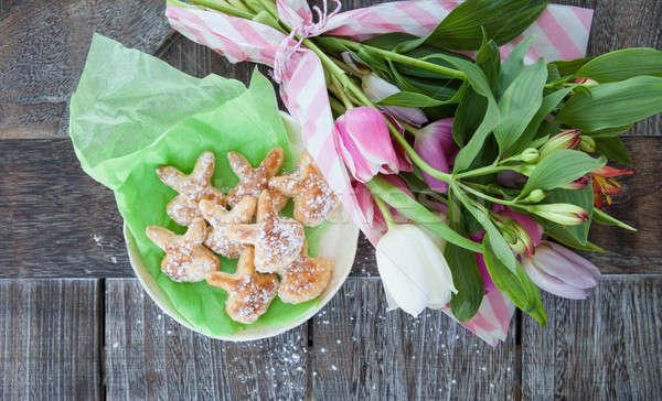 Сток-фото: мало · Пасха · Cookies · Пасхальный · заяц · весенние · цветы