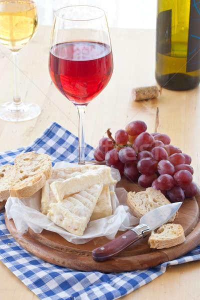 Wine, cheese and bread Stock photo © BarbaraNeveu