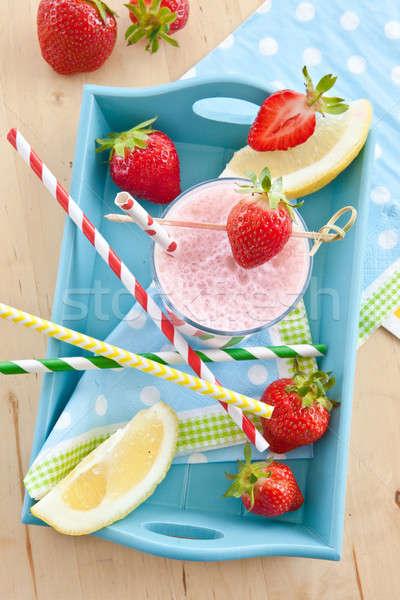 Milkshake vers aardbeien kleurrijk zomer groene Stockfoto © BarbaraNeveu