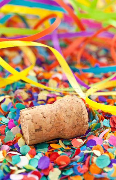 Champagne kurk confetti partij kleurrijk leuk Stockfoto © BarbaraNeveu
