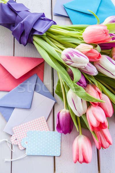 Coloré tulipes pourpre fraîches bois Pâques Photo stock © BarbaraNeveu