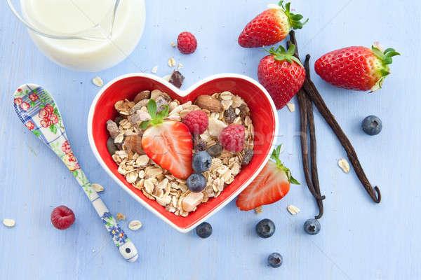 Stok fotoğraf: Müsli · taze · karpuzu · çanak · süt · gıda