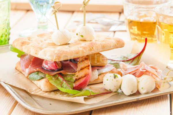 サンドイッチ 薫製 ハム 焼き 桃 ストックフォト © BarbaraNeveu