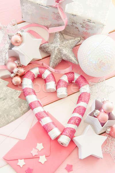 ストックフォト: ピンク · クリスマス · 装飾 · 縞模様の · 木製