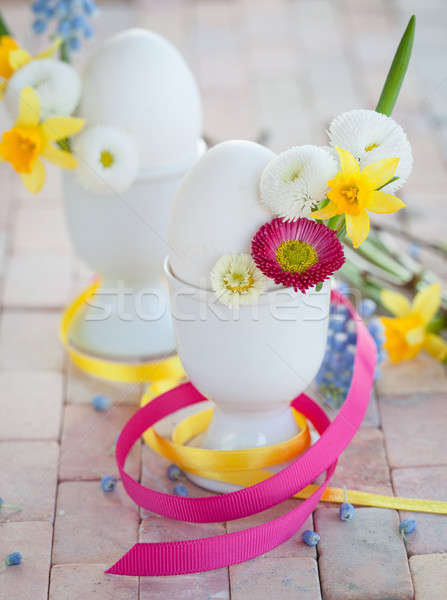 Eggs with spring flowers Stock photo © BarbaraNeveu