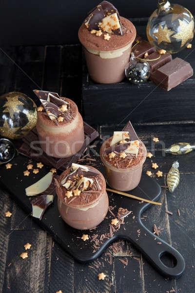 Mus czekoladowy złoty star gwiazdki czarny Zdjęcia stock © BarbaraNeveu
