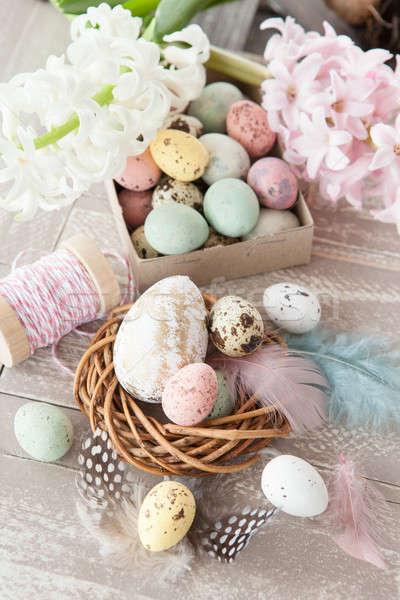 Pasqua decorazioni legno rustico fiori uova Foto d'archivio © BarbaraNeveu