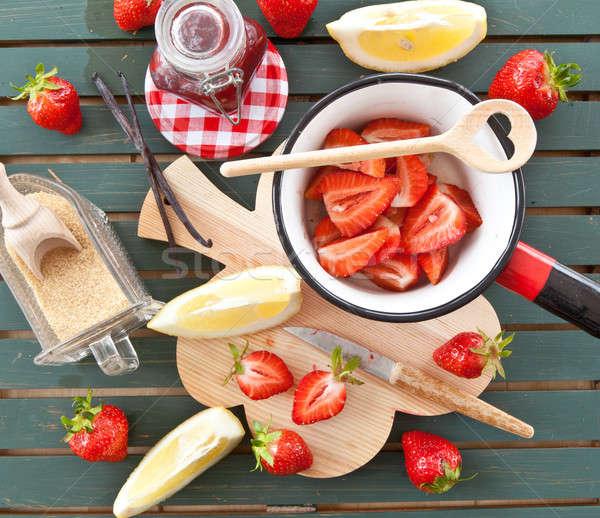 приготовления Jam свежие клубники лимоны Vintage Сток-фото © BarbaraNeveu