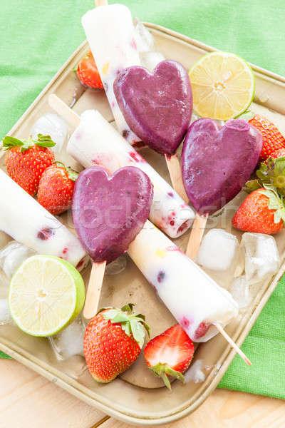 Eigengemaakt bevroren vers vruchten kalk voedsel Stockfoto © BarbaraNeveu