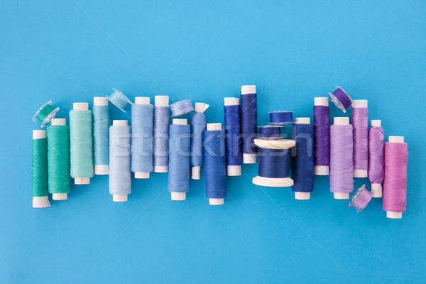 красочный пряжи швейных хлопка синий цветами Сток-фото © BarbaraNeveu