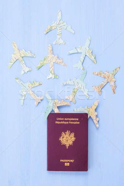 Passport with paper planes Stock photo © BarbaraNeveu