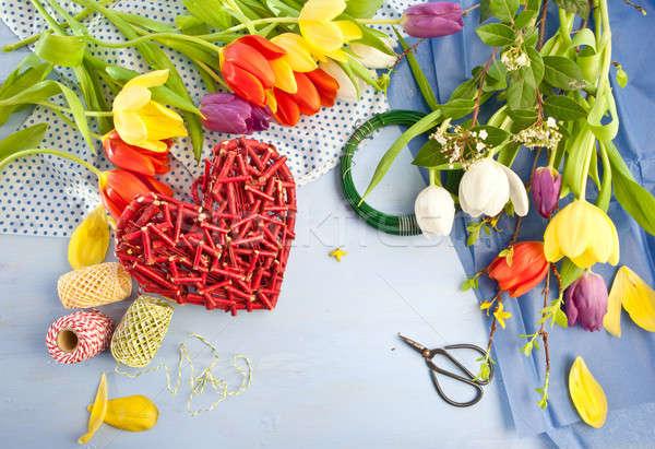 Vers tulpen Blauw houten kleurrijk lentebloemen Stockfoto © BarbaraNeveu