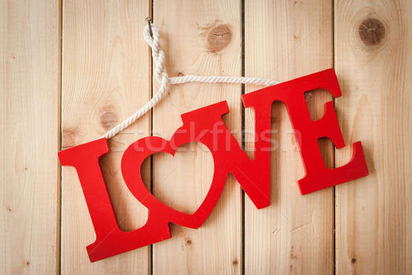 Love on rustic wooden background Stock photo © BarbaraNeveu