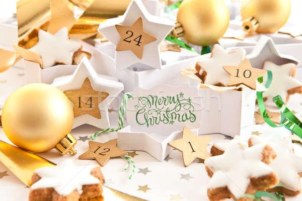 Foto stock: Advento · bolinhos · caixas · de · presente · natal · canela · calendário