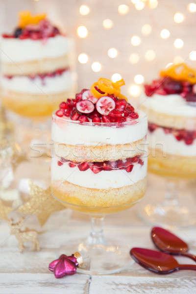 Fehér csokoládé hab gránátalma narancs buli karácsony Stock fotó © BarbaraNeveu