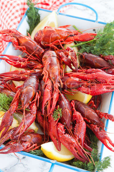 Boiled crawfish with dill Stock photo © BarbaraNeveu
