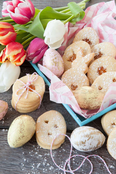 Zdjęcia stock: Jam · Wielkanoc · cookie · niebieski · taca · żywności