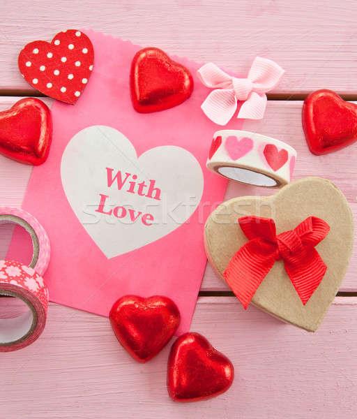 çikolata kalpler renkli hediye çanta Stok fotoğraf © BarbaraNeveu