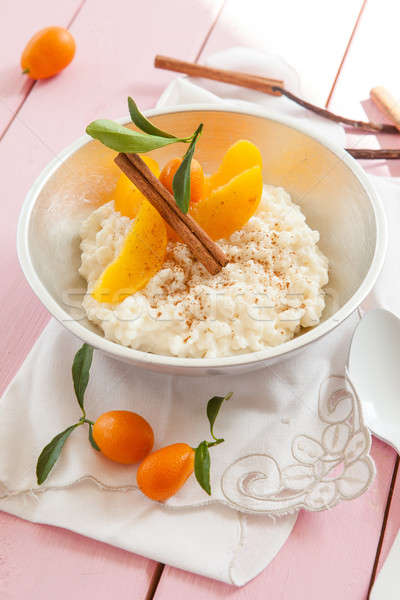 Rice pudding with peaches Stock photo © BarbaraNeveu