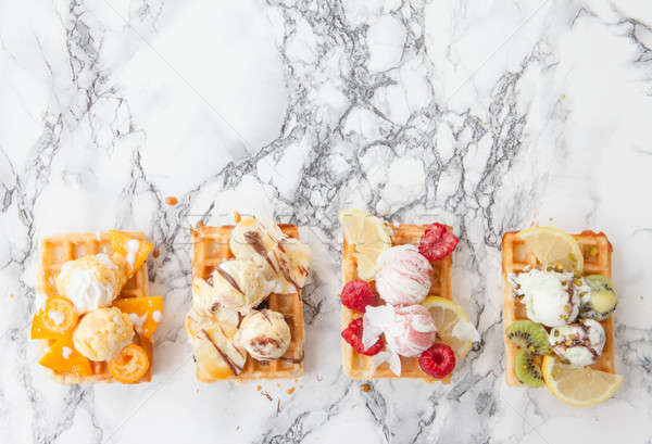Stock photo: Waffles with fresh fruits