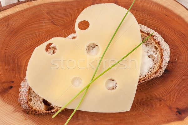 Pão queijo manteiga fatia fresco café da manhã Foto stock © BarbaraNeveu