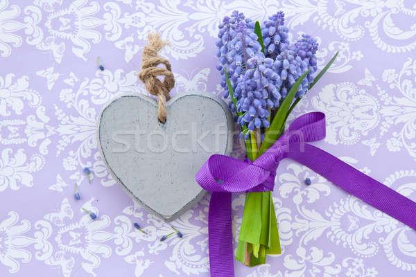 Fraîches coeur ruban pourpre Pâques amour Photo stock © BarbaraNeveu