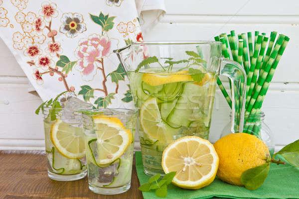 Lemoniada ogórek cytryny zimno świeże ogórki Zdjęcia stock © BarbaraNeveu