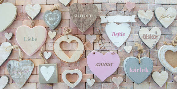Variety of hearts on stone background Stock photo © BarbaraNeveu