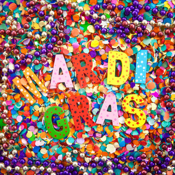MARDI GRAS on confetti Stock photo © BarbaraNeveu