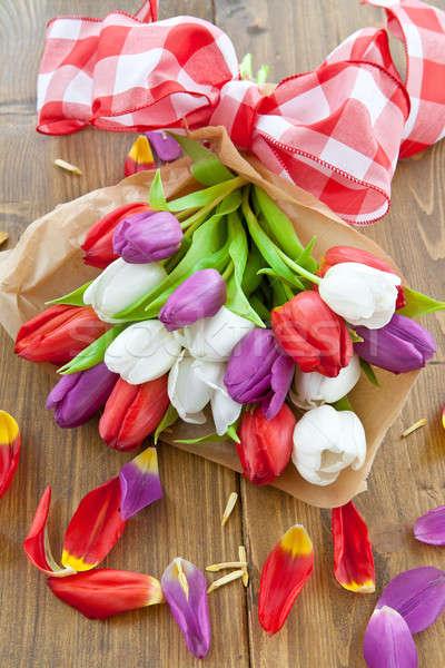 Stock foto: Farbenreich · Tulpen · Ostern · Holztisch · Liebe · Geburtstag
