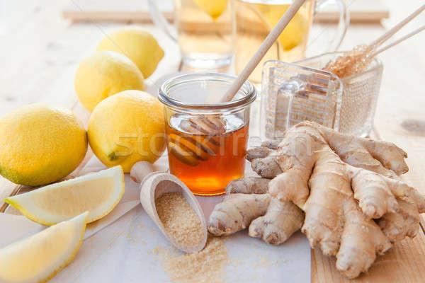 Imbir cytryny miodu świeże naturalnych Zdjęcia stock © BarbaraNeveu