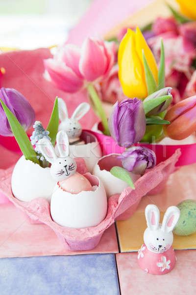 Süslemeleri Paskalya renkli taze çiçekler iyi paskalyalar Stok fotoğraf © BarbaraNeveu