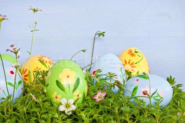 Colorful easter eggs on green grass Stock photo © BarbaraNeveu