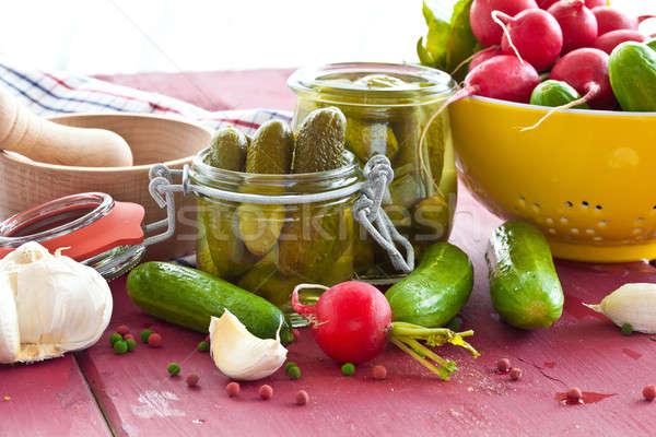 специи уксус Vintage продовольствие красный овощей Сток-фото © BarbaraNeveu