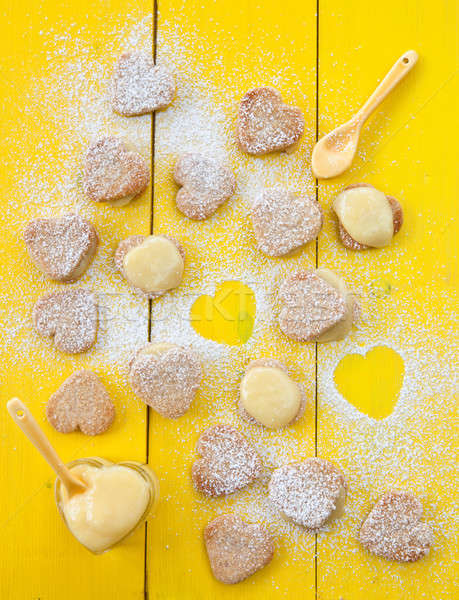 Coeur cookies citron jaune bois Noël Photo stock © BarbaraNeveu